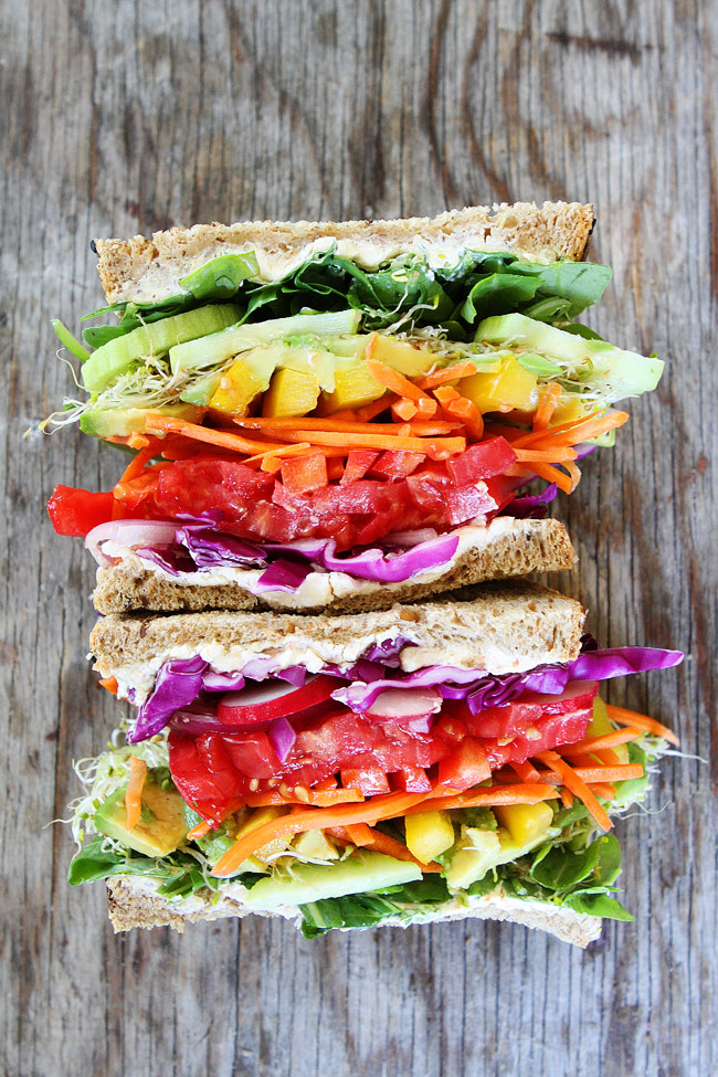 Back to School Healthy Lunches for Adults - Rainbow Vegetable Sandwich via Two Peas and Their Pod | http://www.roseclearfield.com