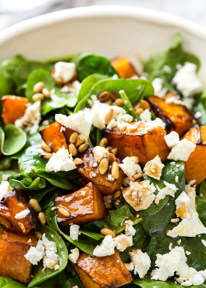 Back to School Healthy Lunches for Adults - Roasted Pumpkin Spinach and Feta Salad via Recipe Tin Eats | http://www.roseclearfield.com