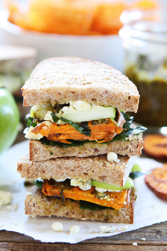 Back to School Lunches for Adults - Roasted Sweet Potato Sandwich with Apples, Pesto, Kale, and Blue Cheese via Two Peas and Their Pod | http://www.roseclearfield.com