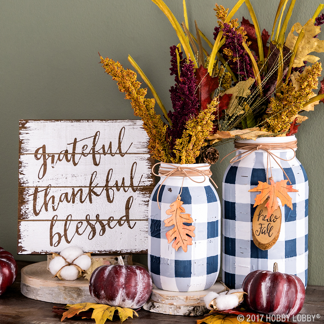 DIY Fall Mason Jar Decor - Buffalo Check Mason Jars with Fall Accents via Hobby Lobby | http://www.roseclearfield.com