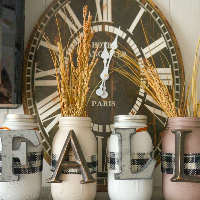 DIY Fall Mason Jar Decor - Fall Letters Mason Jars via Sarah Titus | http://www.roseclearfield.com