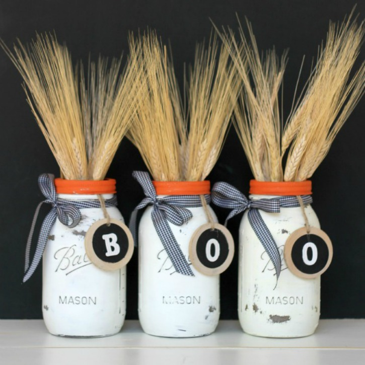 DIY Halloween Mason Jar Decor - Halloween Boo Mason Jars via View From the Fridge | http://www.roseclearfield.com