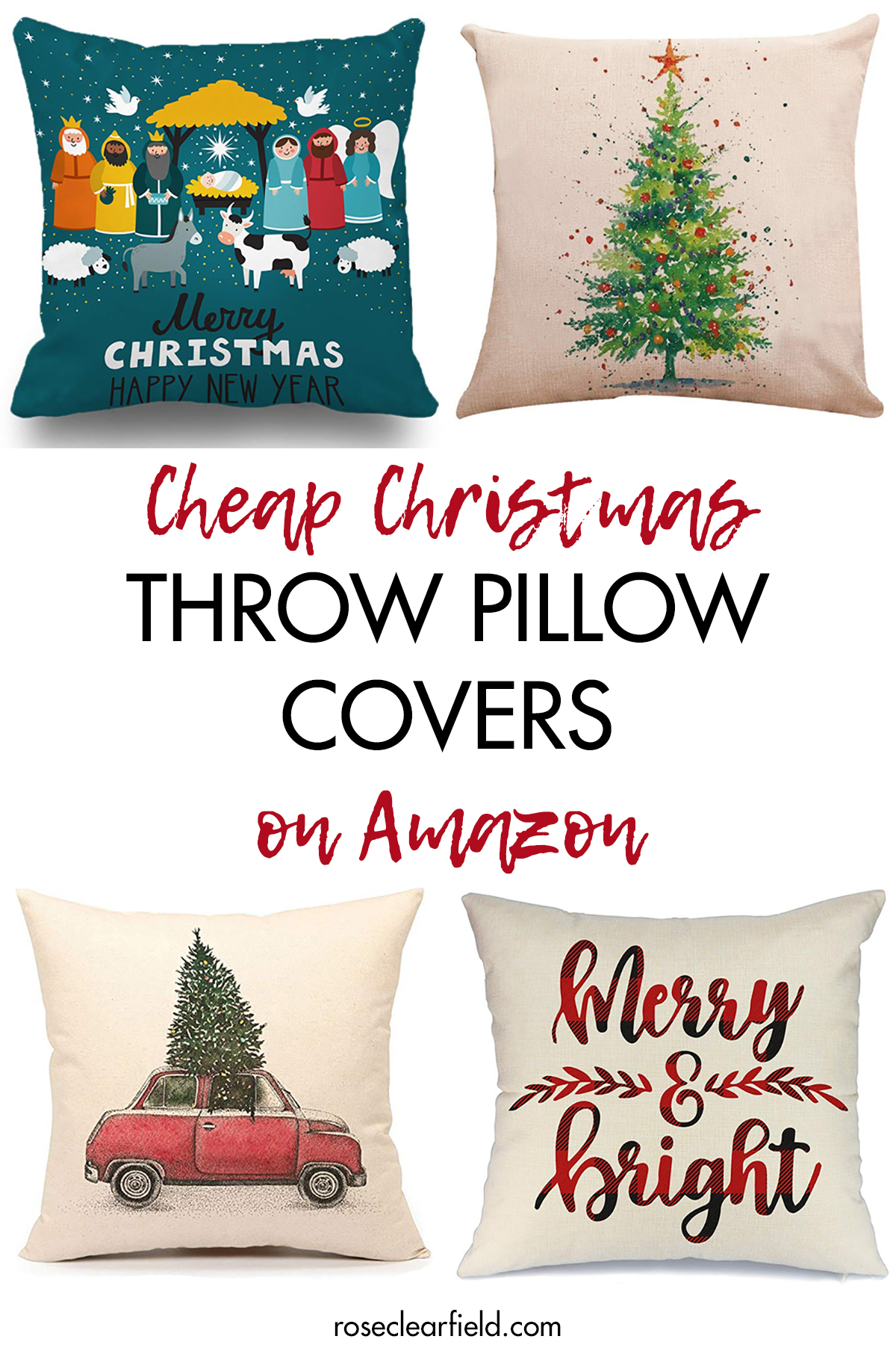 cheap christmas throw pillow covers on