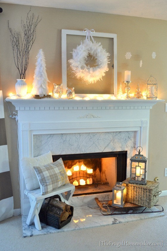 Post-Christmas Winter Mantel Inspiration - White Winter Mantel via The Frugal Homemaker | https://www.roseclearfield.com
