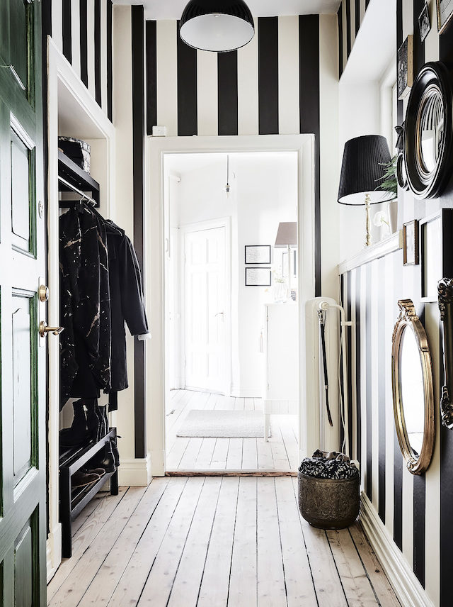 Stripes Inspiration - Black and White Striped Walls via My Scandinavian Home | https://www.roseclearfield.com