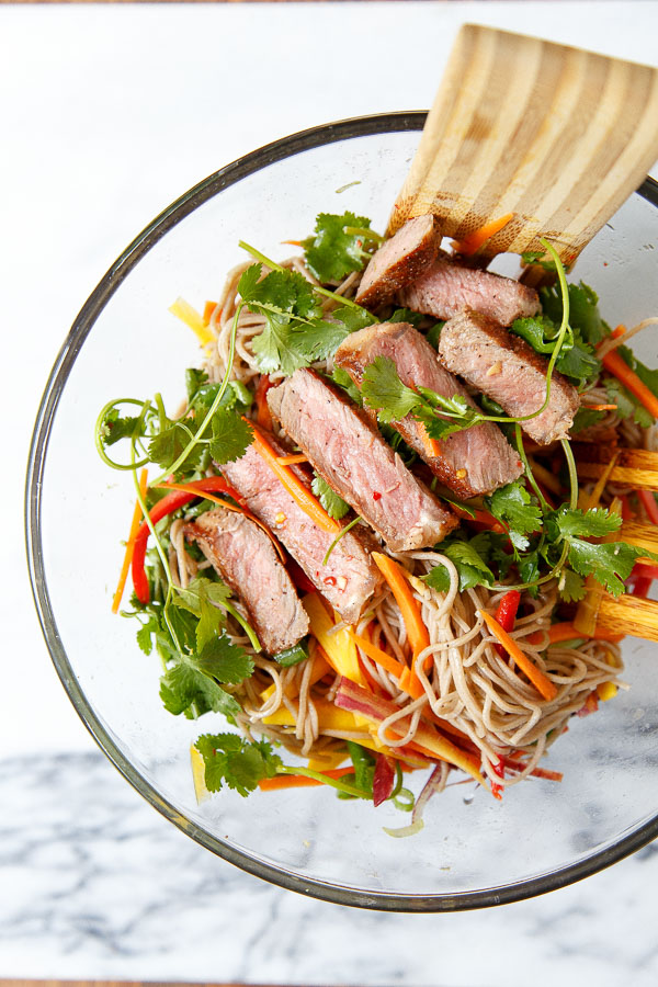 30 Healthy Dinner Recipes for Two - Dinner For Two Soba Noodle Steak Salad via Dessert for Two | https://www.roseclearfield.com