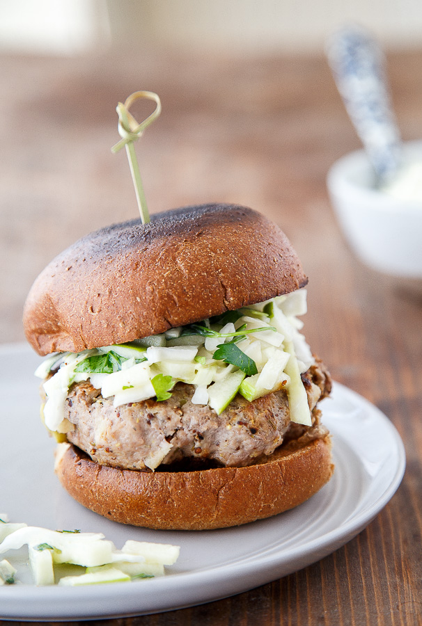 30 Healthy Dinner Recipes for Two - Rosemary Apple Chicken Burgers and Slaw via Dessert for Two | https://www.roseclearfield.com