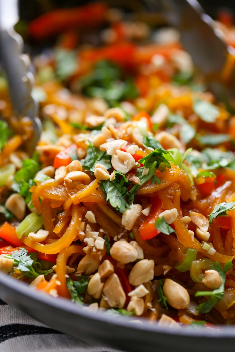 30 Healthy Dinner Recipes for Two - Sesame Peanut Butternut Squash Pan Fried Noodles via Lauren's Latest | https://www.roseclearfield.com
