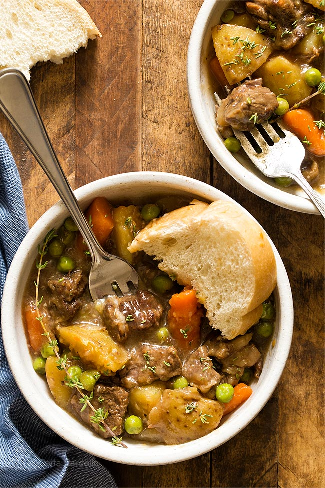 30 Healthy Dinner Recipes for Two - Stovetop Beef Stew for Two via Chocolate Moosey | https://www.roseclearfield.com