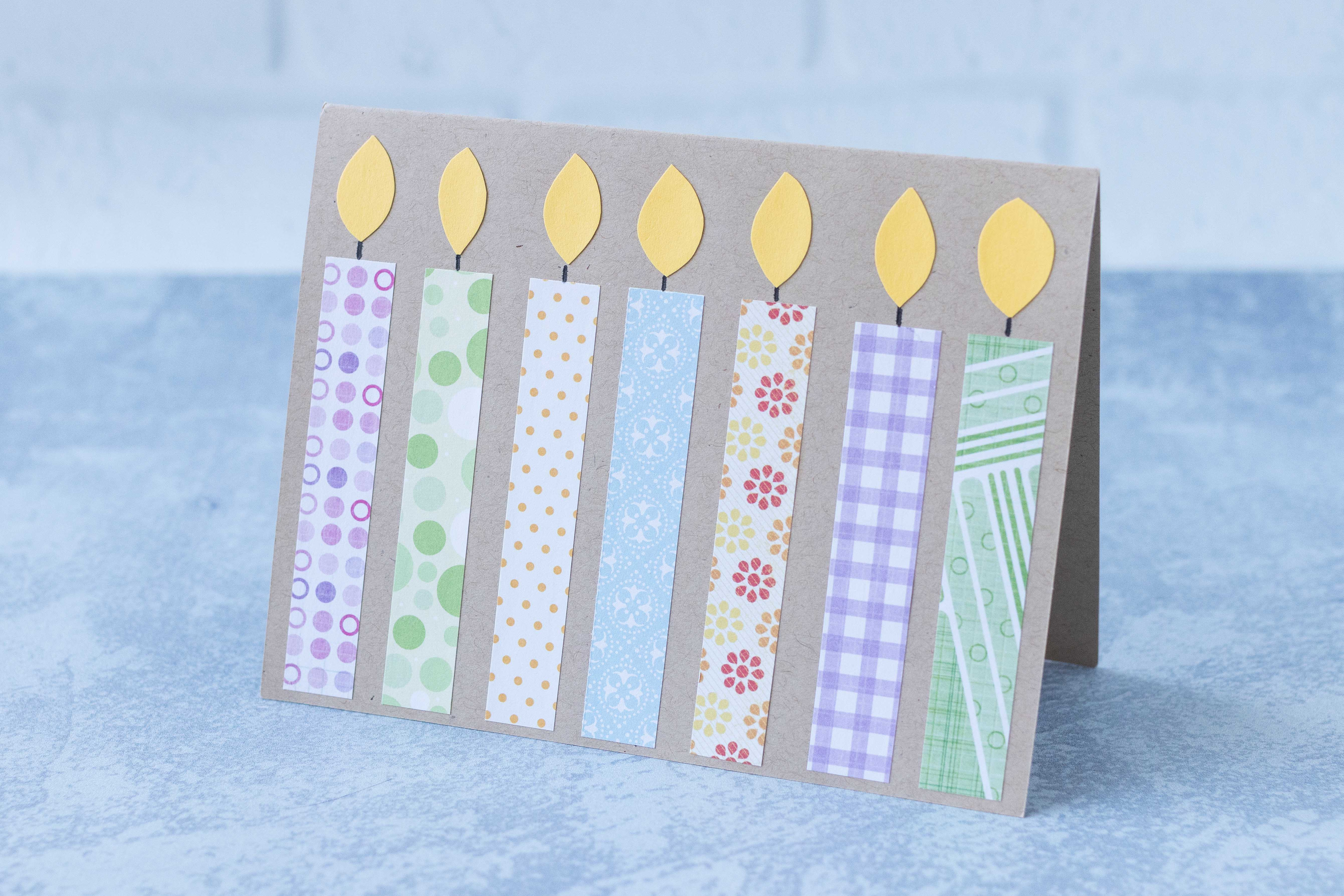 DIY birthday cardles greeting card. A perfect way to use up leftover scrapbook paper! #birthdaycard #birthdaycandles #paperscrapsproject | https://www.roseclearfield.com