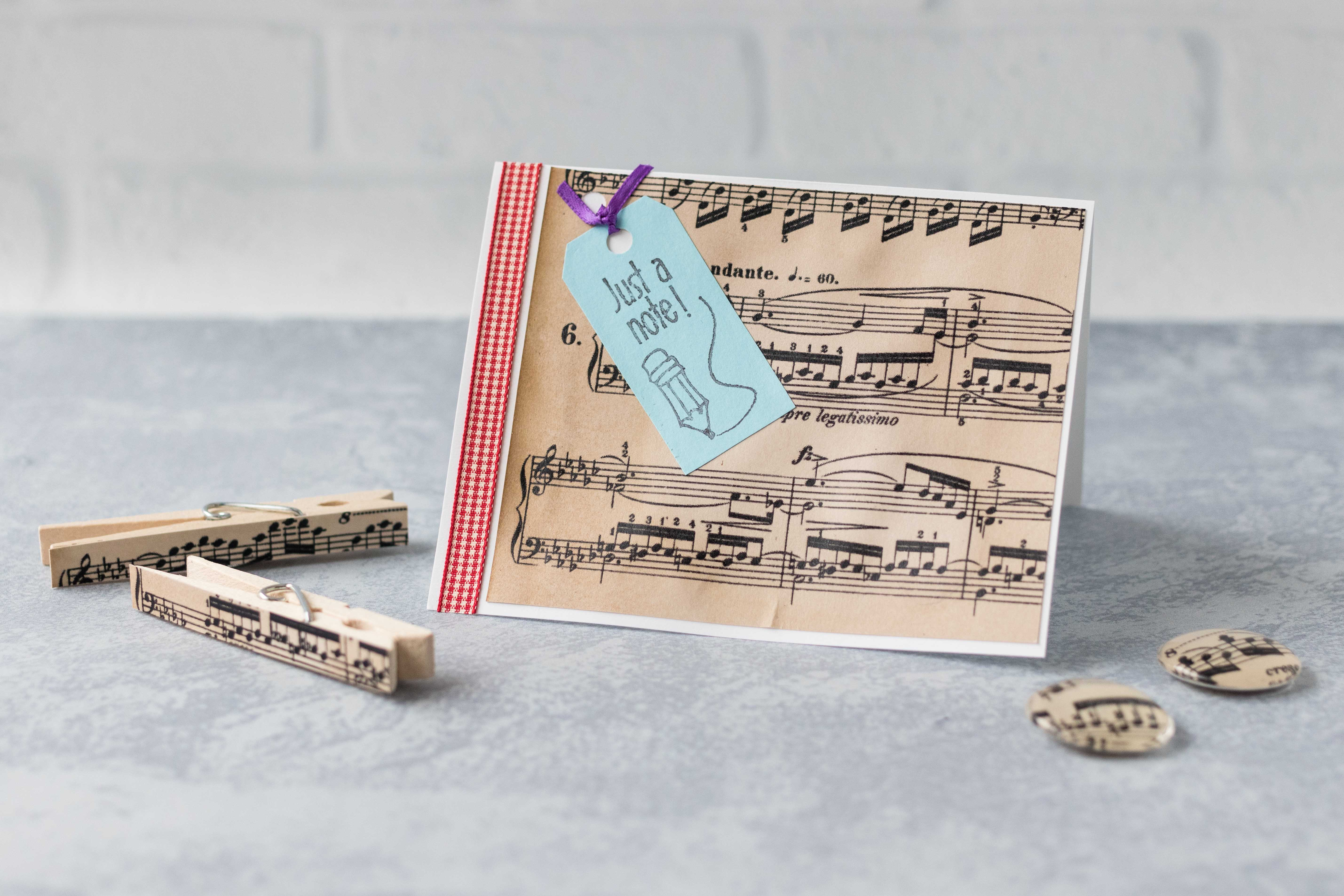 DIY craft projects with homemade antiqued paper: greeting card, clothespin magnets, and glass magnets. #DIY #sheetmusic #antique | https://www.roseclearfield.com