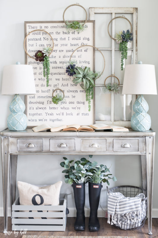 Spring embroidery hoop wreath decor: a tutorial for DIY succulent embroidery hoop wreaths via House by Hoff | https://www.roseclearfield.com
