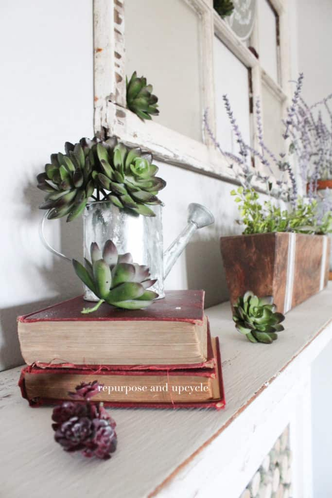 Spring Mantel Inspiration - How to Decorate a Spring Mantel via Repurpose and Upcycle | https://www.roseclearfield.com