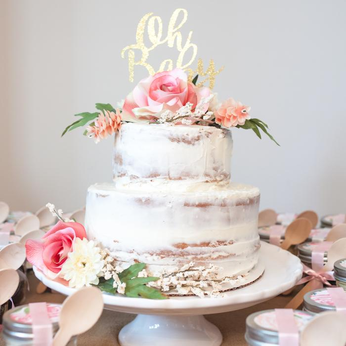 Stunning naked cake with large flowers for a floral-themed baby shower via Craft Box Girls. #showercake #floralcake #babyshower   https://www.roseclearfield.com