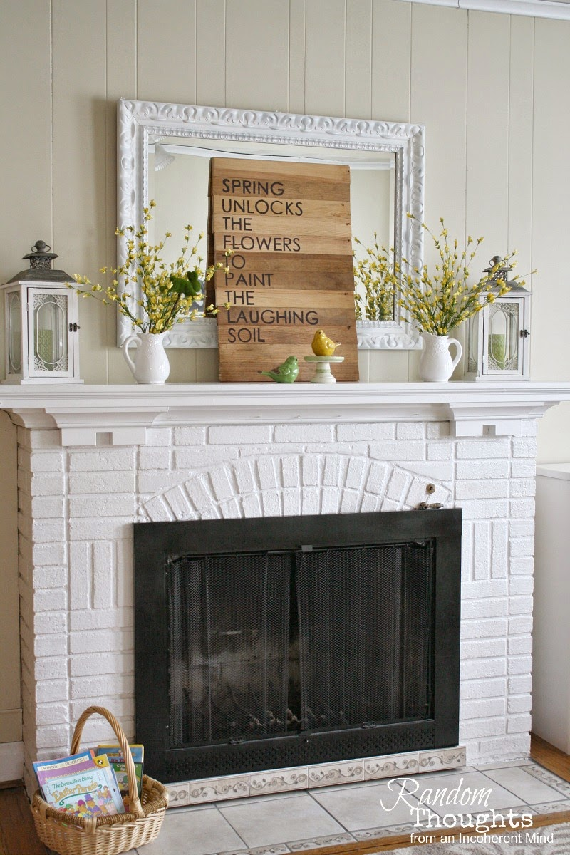 Spring Mantel Inspiration - Spring Mantel via Random Thoughts Home | https://www.roseclearfield.com