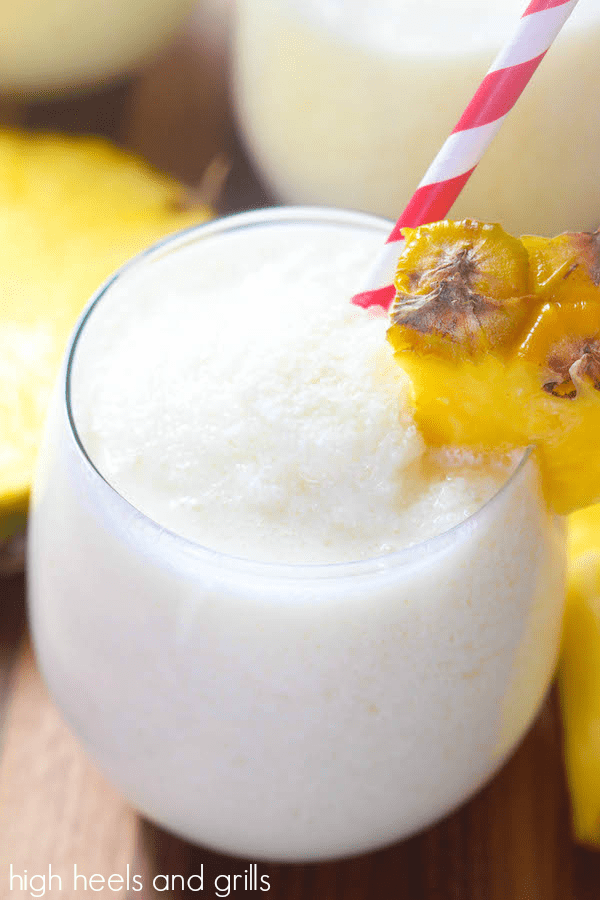 Non-alcoholic drinks for Easter: a virgin pina colada offers a refreshing pineapple coconut flavor without the alcohol, via High Heels and Grills. #virgindrink #nonalcoholic #pinacolada | https://www.roseclearfield.com