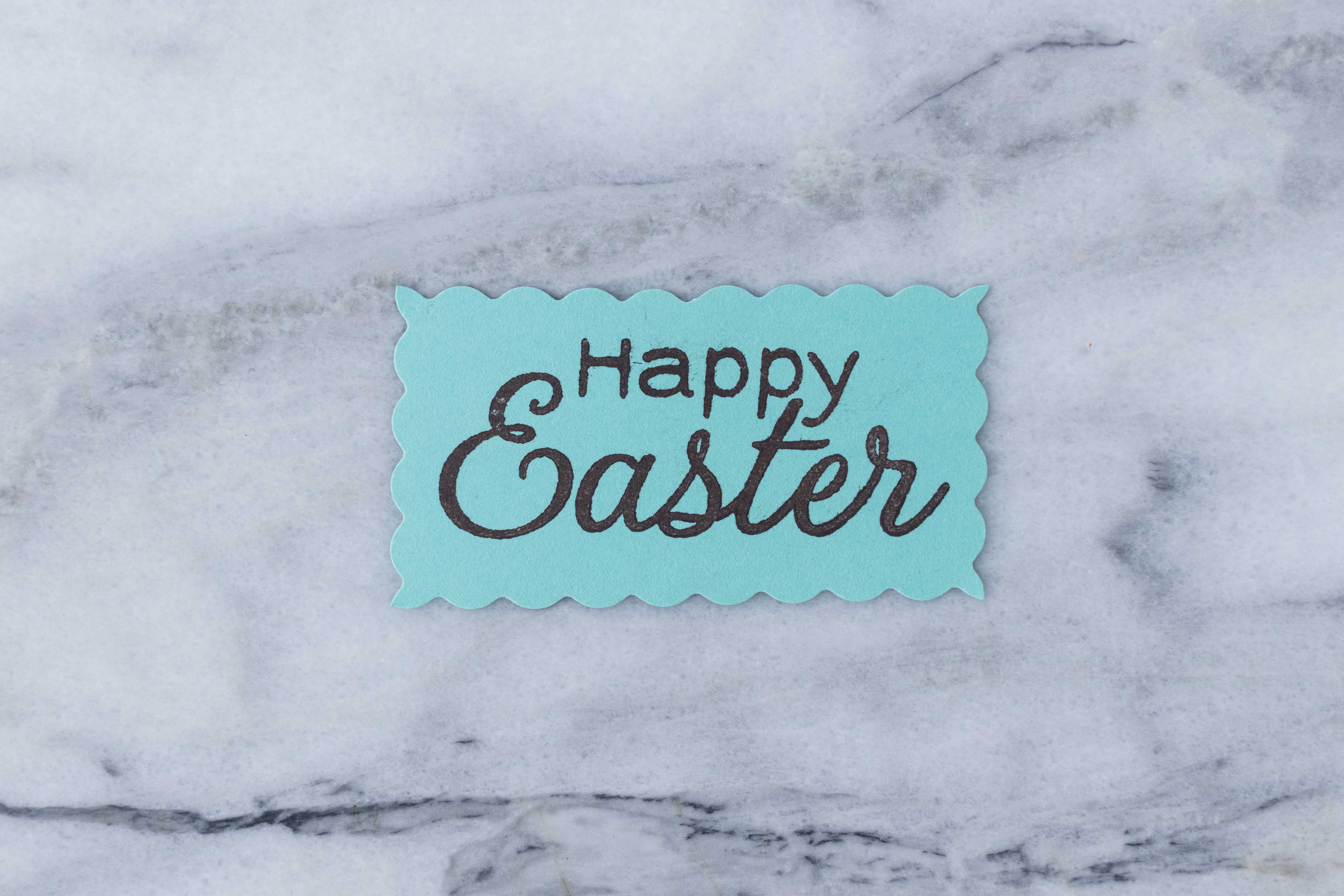 """I love this """"Happy Easter"""" stamp from Hero Arts for DIY Easter craft projects. Scallop edges add a whimsical touch. 