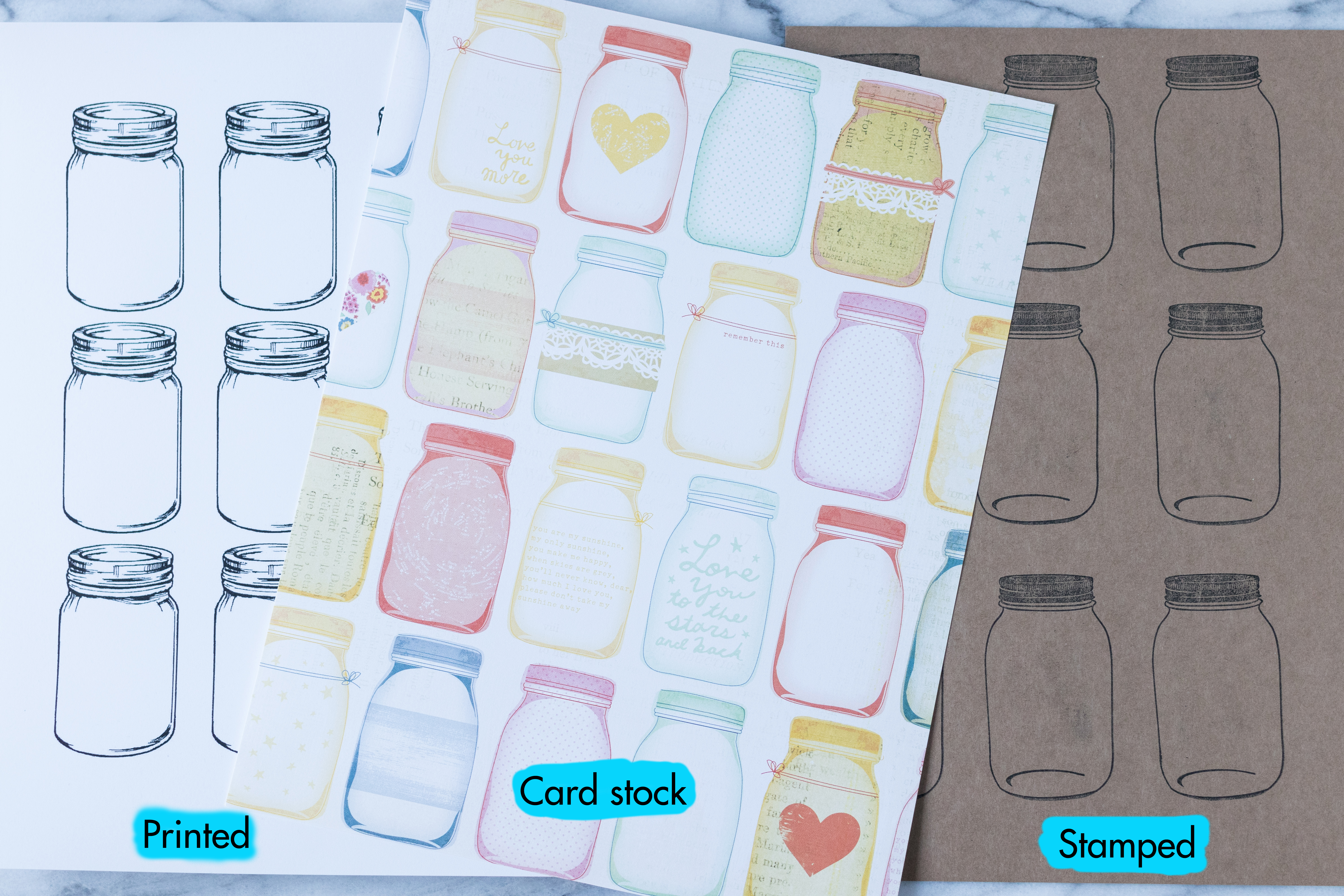 Three ways to create mason jar scrapbook embellishments: printed, card stock/scrapbook paper, and stamped. #DIY #masonjars #scrapbookembellishments | https://www.roseclearfield.com