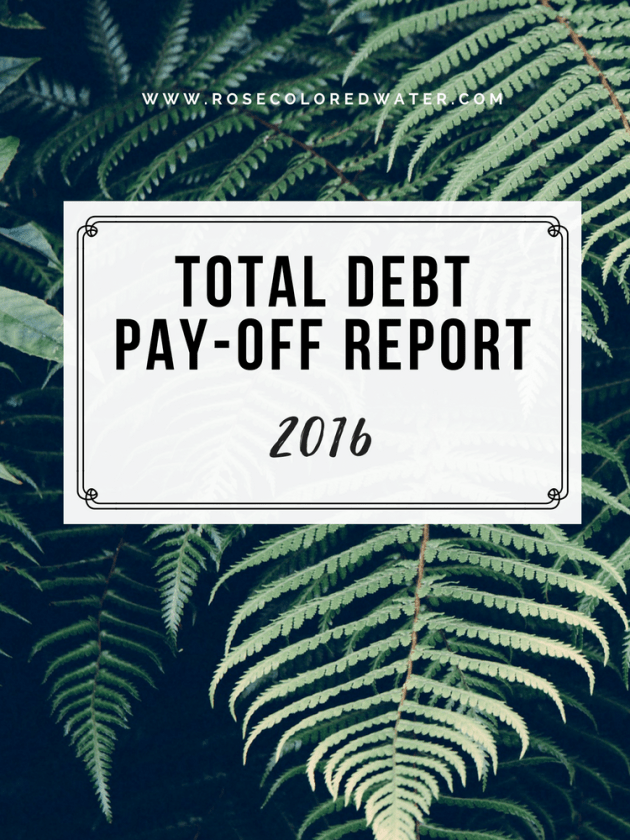 2016's Total #Debt Pay-Off Report | Rose Colored Water #money #finance