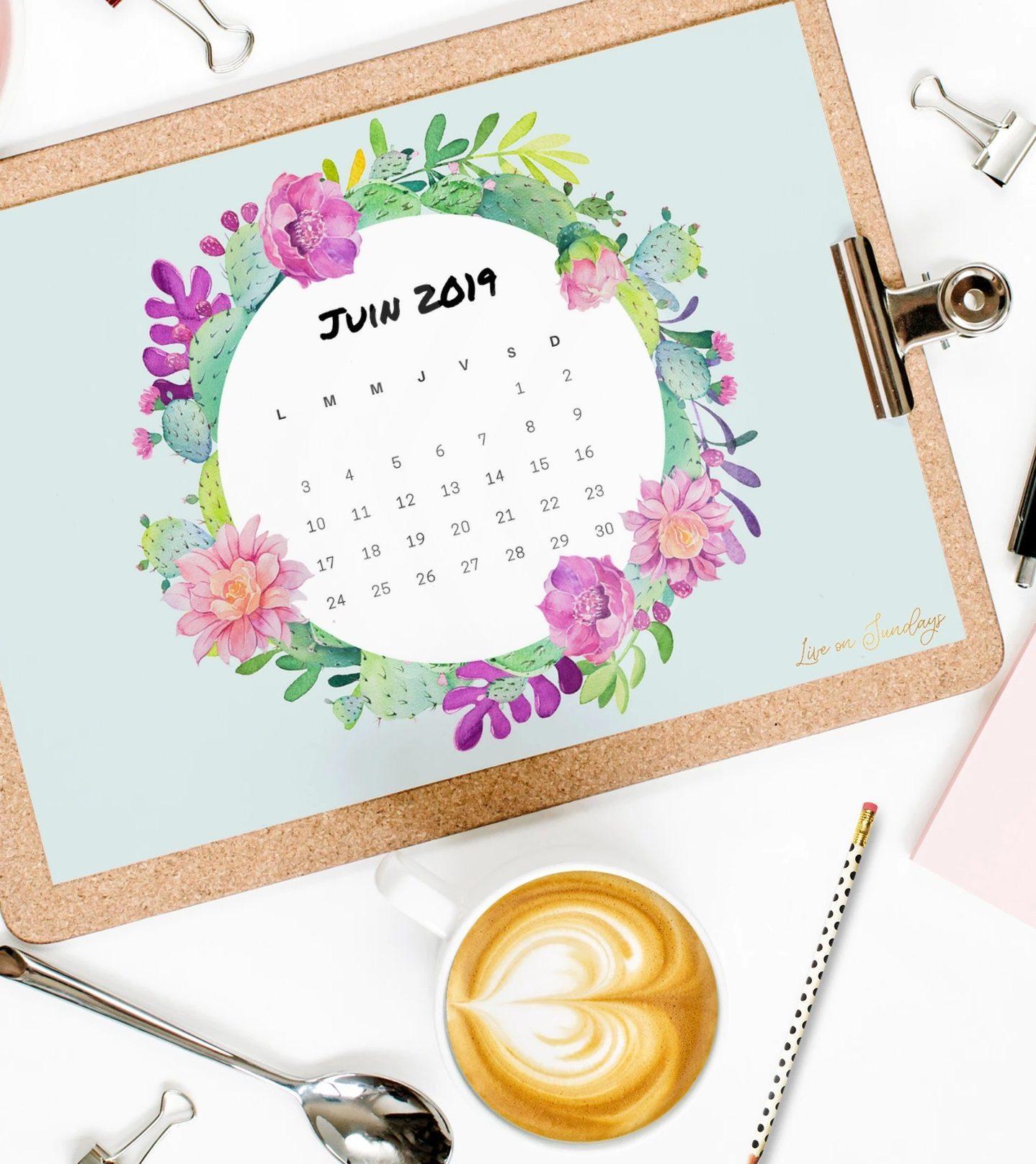 Calendrier à imprimer juin 2019 Sweet Cactus