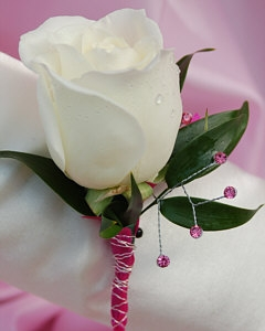 White Rose Boutonniere Pink
