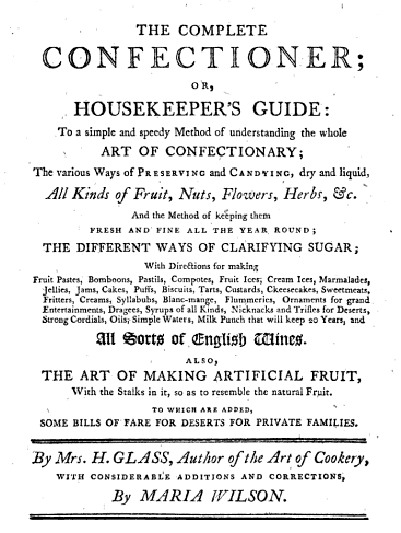 title page for The Art of Confectionary