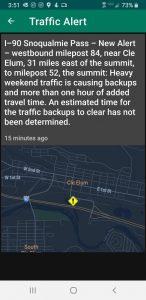 I-90 Snoqualmie pass heavy traffic Cle Elum