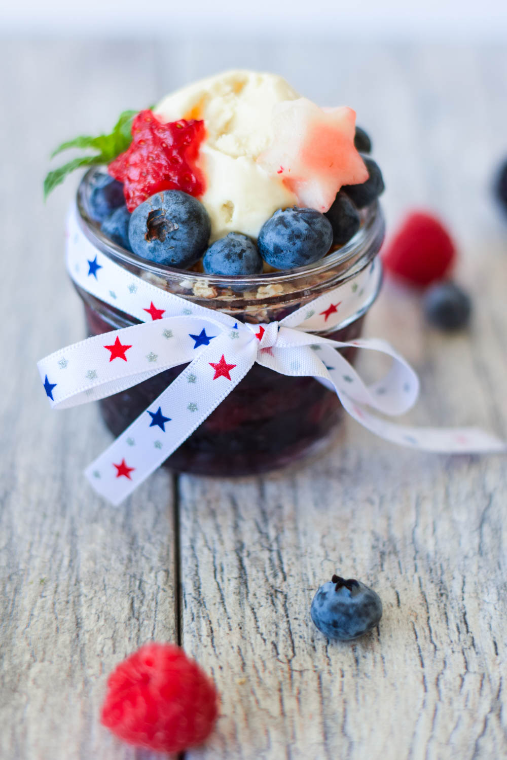 Red, White, & Blue No Bake Berry Cobbler