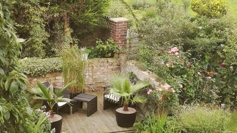 The patio garden in spring