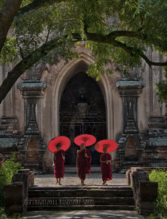 three young monks holding umbrellas stand in front ot temple door