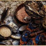 a woman prepared dinner in a home in Mopti Mali..bird's eye view