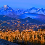 landscape of Kyrgyzstan: Sunrise on the Ala Too Mountains