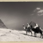 the great pyramid with camels and riders