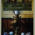 samovar and china tea set digital painting