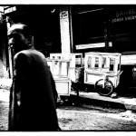 Istanbul: black and white street scene with borek pushcarts