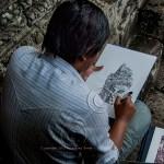 Cambodian man draws temples of Ta-Prohm