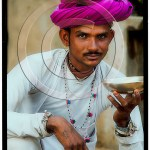 Handsome Rabari man drinking tea