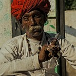 Rabari shaman with chillum