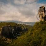 Katskhi Pillar towers over a gorge in the Caucasus Mountains of Georgia