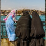 Istanbul skyline with women in chador