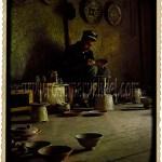 Fergana Valley, Uzbekistan: Uzbek man decorates pottery