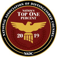 National Association of Distinguished Counsel Badge Top 1% 2019