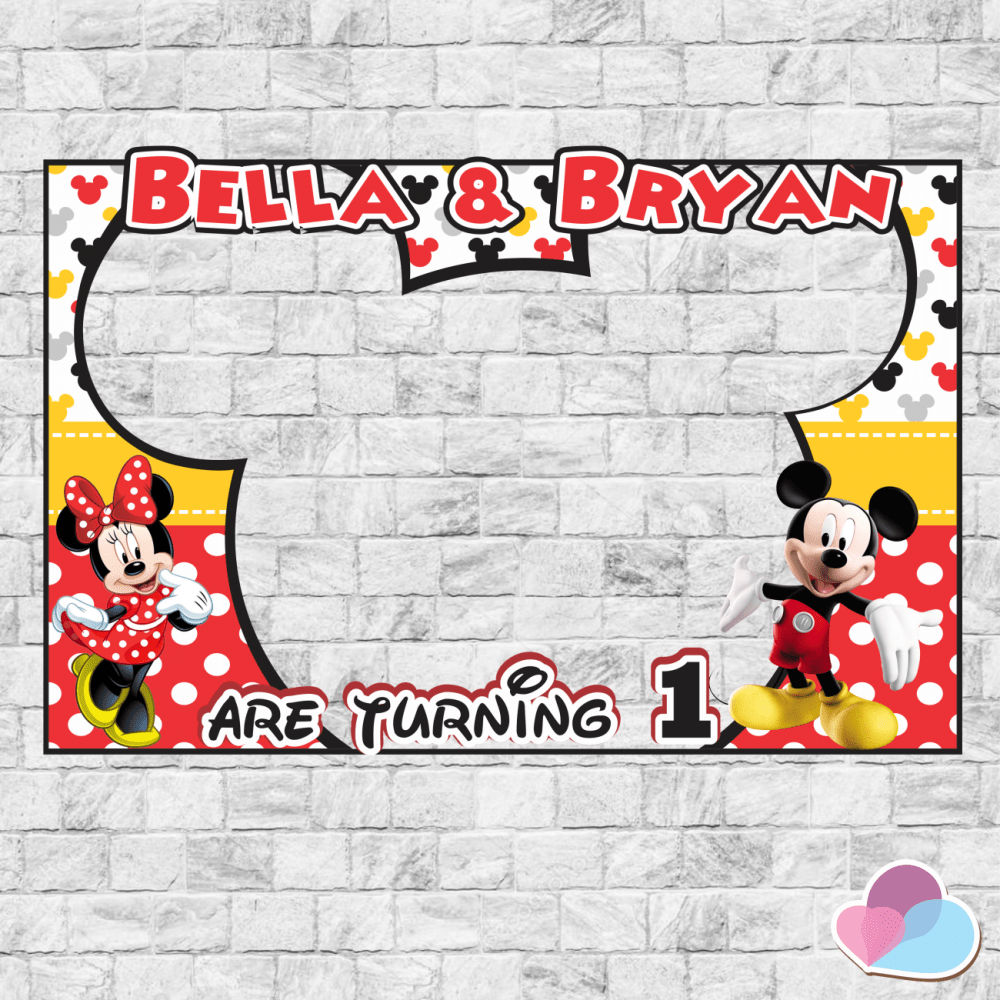 Mickey And Minnie Birthday Disney Party Oh Twodles Photo Booth Frame