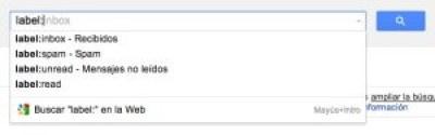 Captura de la búsqueda por etiquetas o labels de Gmail