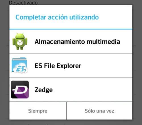 Captura de pantalla del selector de gestor de contenido en Android