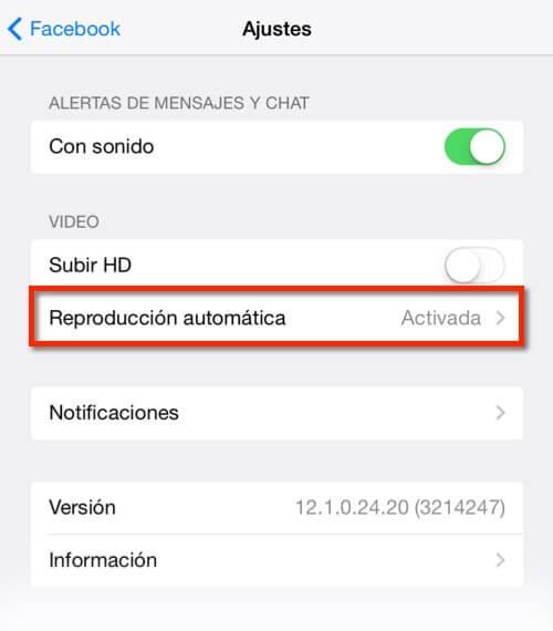 Captura de los ajustes de vídeo de la app de Facebook en iOS7