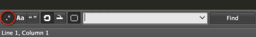 Imagen aclarativa de cómo activar las expresiones regulares para la búsqueda