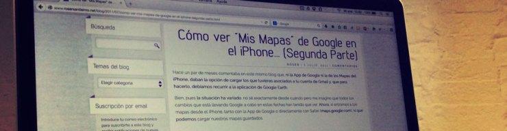 Fotografía de una pantalla de ordenador mostrando una entrada del blog