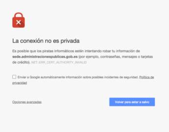 Captura de pantalla de una excepción de seguridad lanzada por Google Chrome