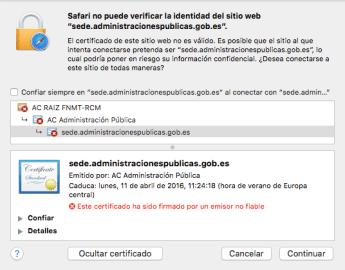 Captura de pantalla de una excepción de seguridad lanzada por Safari